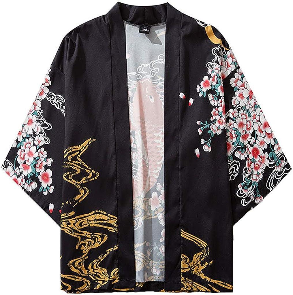 Kimono for Men, F_Gotal Men Kimono Floral Open Front Cardigan Cover Up Shawl Collar Unisex Robe Jackets Drape Cape Coat