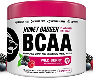 Honey Badger Vegan Keto BCAA - EAA Electrolyte Powder | Wild Berry | Natural Gluten Free Amino Acids Essential Aminos Sugar Free + Sucralose Free | 30 Servings
