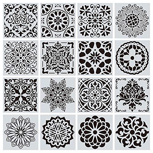 Jurxy 16 Stück Mandala Schablone Set Blumenmuster Zeichenschablone Malerei Wand Dotting Malvorlage Airbrush Vorlage Rock Punktierung Wiederverwendbar Groß Laserschnitt Malschablone - 15x15cm Stil 3