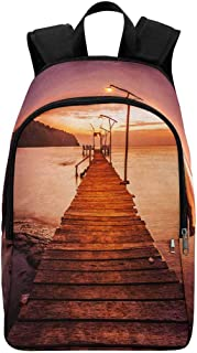 InterestPrint Sunset over the Sea, Pier on the Foreground Casual Backpack School Bag Travel Daypack