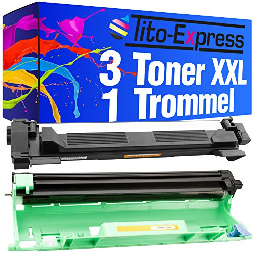 Tito-Express Platinum Serie 3 Toners & 1 Trommel XXL compatibel met Brother TN-1050 DR-1050 DCP-1510 DCP-1512 MFC-1810 MFC-1911NW DCP-1512A DCP-1601 DCP-1612W HL-1112 HL-1201 HL-1211W HL-1212W