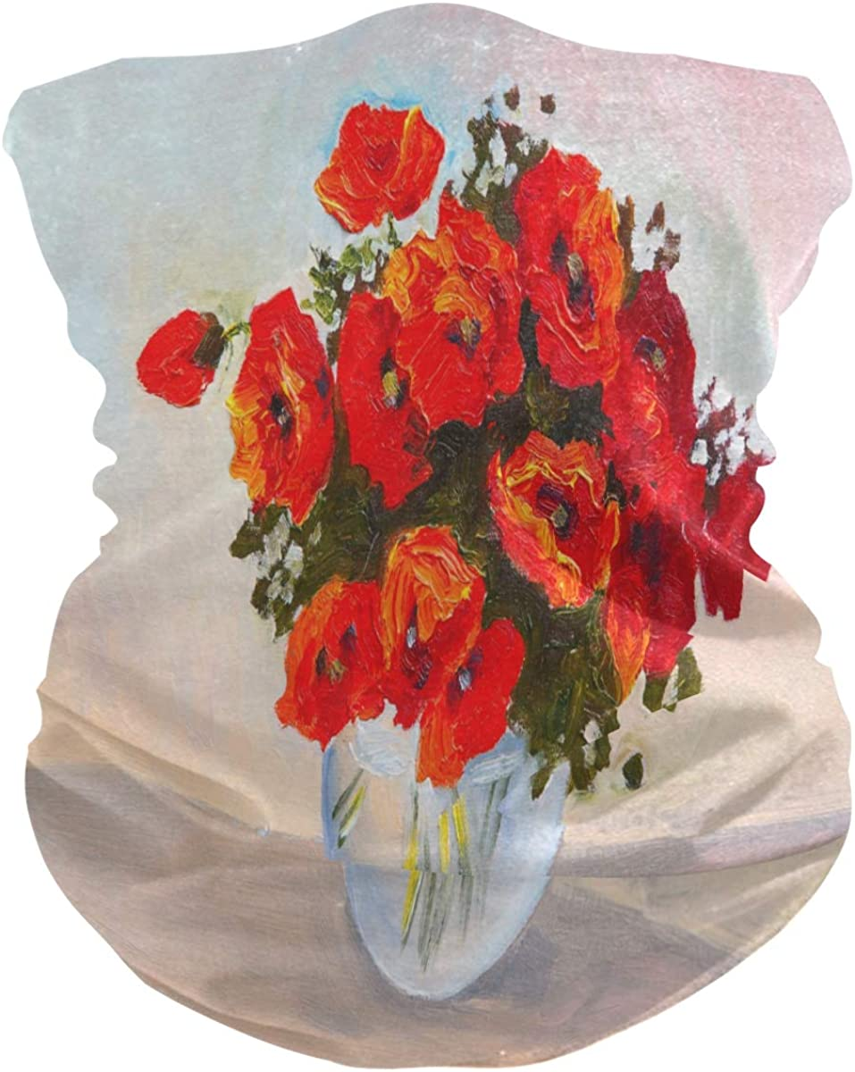 SUABO Sun Face Scarf for Men Poppies In A Vase Neck Gaiter Headwraps Headband Bandana for Women