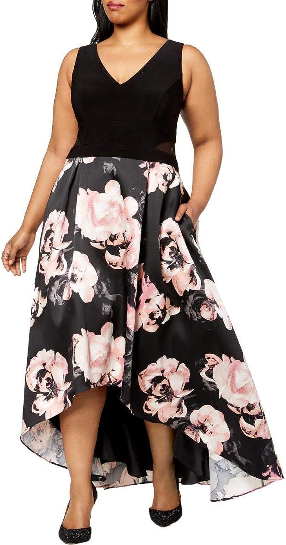 X by Xscape Womens Plus Sleeveless HiLow Party Dress