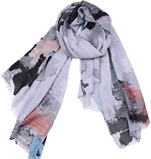 Scarf Large Format Satin Gouache Print Elegant Tassel Pumping Shawl Four Seasons Multifunction Winter Cooling Measures Sunscreen for Women` TuanTuan (Color : Gray)