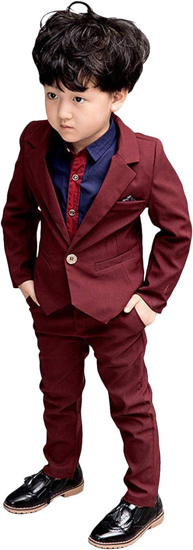 QZI Boys' Suit Two Pieces Notch Lapel One Button Tuxedo Jacket &Trousers
