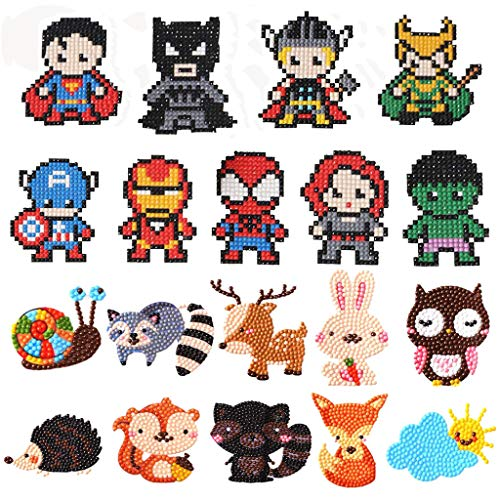 5D Diamond Painting Kits for Kids, Diamond Art for Kids Digital Mosaic Sticker Art Kit, Suitable for Children and Beginners (T015-T002) 19PCS