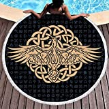 Vintage Odin's Raven Knot Tattoo White Round Beach Towel Blanket Eye-Catching Beach Cover Wall Decor Tapestry with Tassels Carpet Yoga Mat for Women & Girl Use