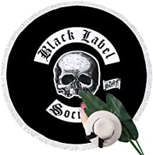 Beach Towel Black Label Society Classic Skull Logo Towels with Tassel Microfiber Oversized Round Picnic Mat Tapestry Table Cover Blanket