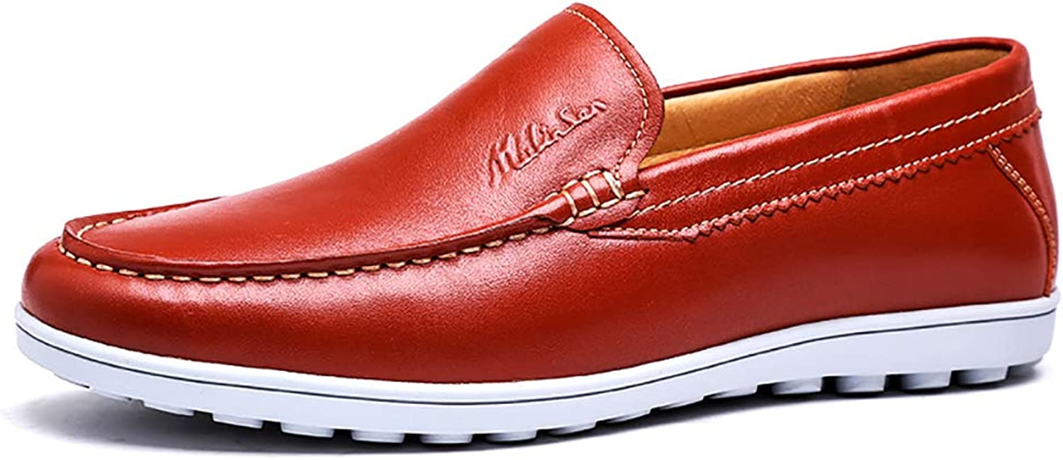 LXLA- Mens Casual Slip-On Dress Leather shoes Men's Comfortable Round Head Loafers for Men