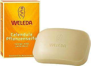 WELEDA Calendula Pflanzenseife, vegane Naturkosmetik Seife mit ätherischen Ölen reinigt und pflegt die Haut besonders sanft, erzeugt einen cremigen Schaum 1 x 100 g