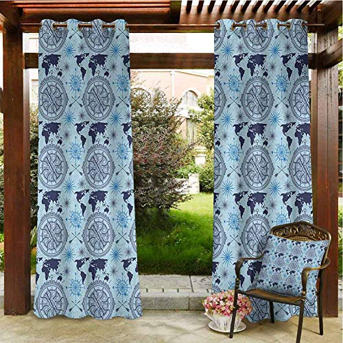Compass Home Curtains Patio Cabana Porch Gazebo Panel Drapery 84'x84' World Map Pattern Vintage Inspirations Arrows and Windrose Continents Grunge Pale Blue Indigo