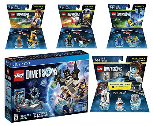 Lego Dimensions Starter Pack + The Lego Movie Emmet + Benny + Bad Cop Fun Packs + Portal 2 Level Pack for PS4