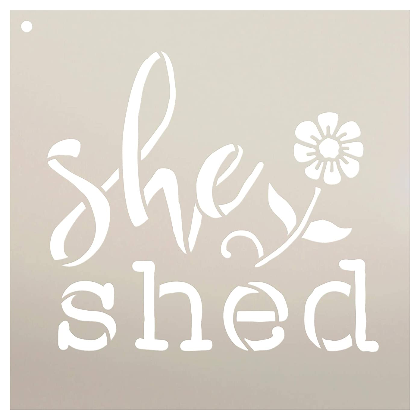 She Shed with Flower Stencil by StudioR12 | Reusable Mylar Template | Use to Paint Wood Signs - Pallets - Pillows - Apron - DIY Gardening Decor - Select Size (9