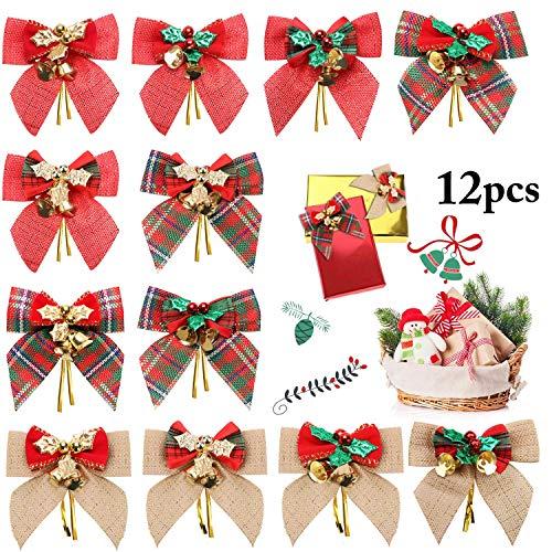 INTVN 12 Piezas de Lazo de Navidad Lazo de Cinta para Árbol de Navidad, Corona de Navidad, Decoración