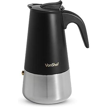 VonShef Cafetera Italiana de 6 tazas – Cafetera para espresso en acero inoxidable color negro mate– Apto para cocinas eléctricas y de gas: Amazon.es: Hogar