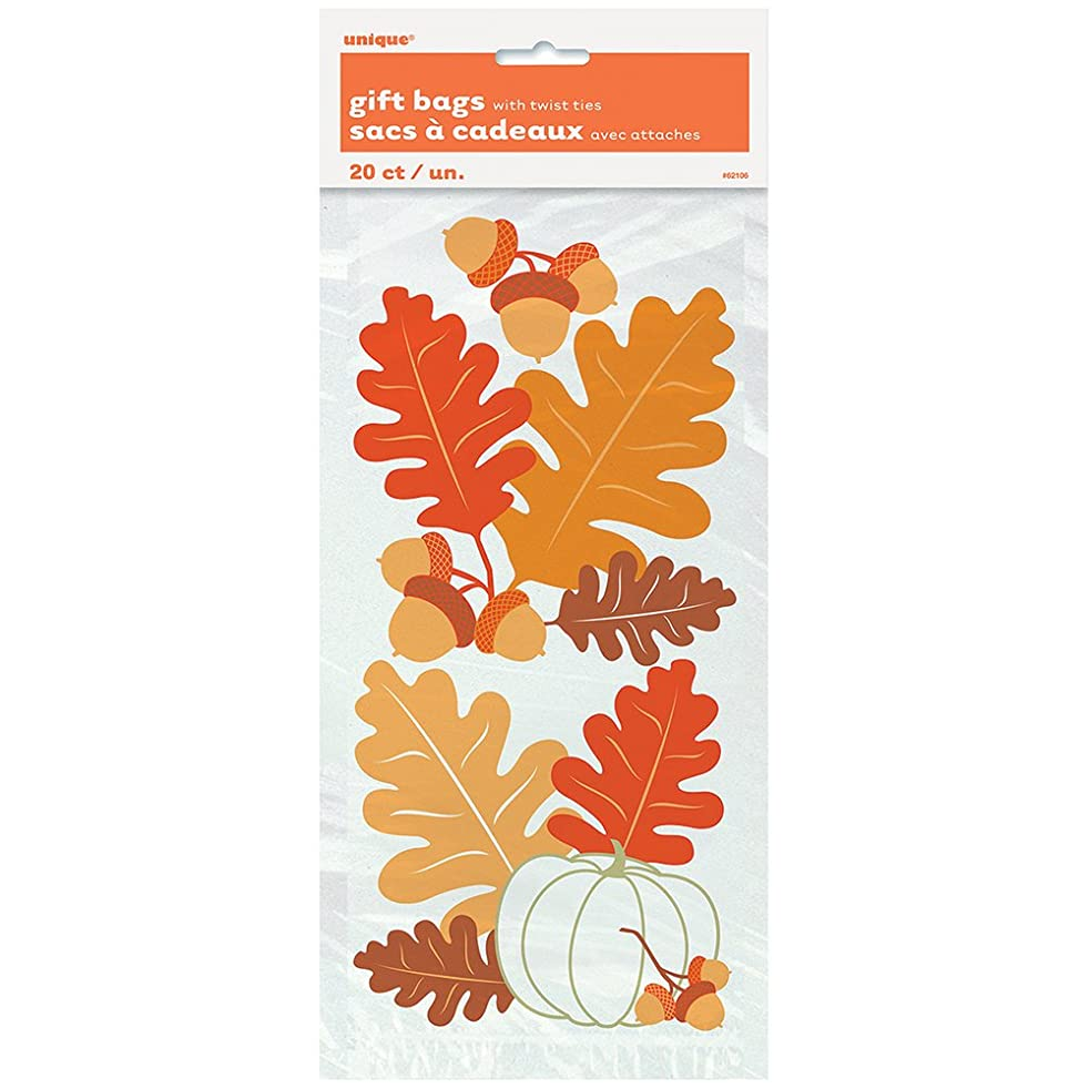 Painted Leaves Fall Cellophane Bags, 20ct