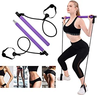 OZMI 2020 Upgraded Portable Pilates Bar Kit with Exercise Resistance Band, Exercise Pilates Bar with Adjustable Foot Loop ...