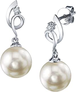 THE PEARL SOURCE 14K Gold AAA Quality Round White Akoya Cultured Pearl & Diamond Symphony Earrings for Women
