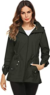 Raincoat Women Waterproof Outdoor Active Mesh Lining Hooded Rain Trench Jacket