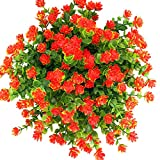 E-HAND Artificial Flowers Outdoor Red Orange UV Resistant Plants Plastic Fake Window Box Wholesale 4PCS