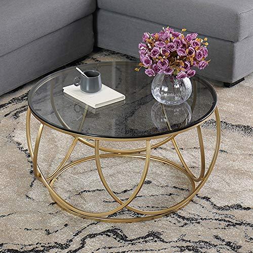 JHBW Couchtisch, schmiedeeiserner Couchtisch aus gehärtetem Glas, Kleiner runder Tisch in moderner Handelsqualität, geeignet für Wohnzimmer, Schlafzimmer, Balkon (60 cm)