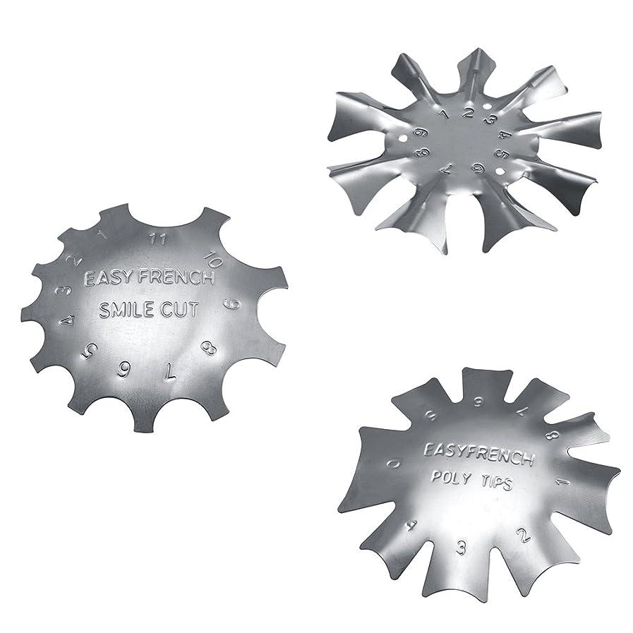バイバイ選択する提供Perfk フランス風 ネイルガイドツール 3タイプセット ネイルアート カットライントリマー 金属 ネイルテンプレート