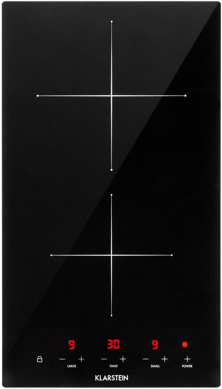 KLARSTEIN VariCook Domino - Double plaque de cuisson vitrocéramique, 9 niveaux de puissance, Minuterie, Tous types d'ustensiles, Contôle tactile, LED - Noir Noir