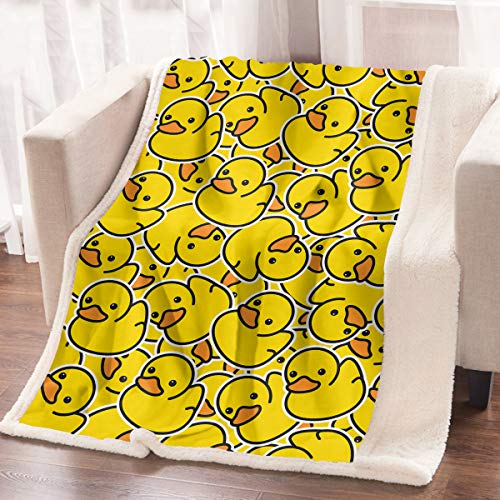 ARIGHTEX 3D Throw Blanket Yellow Rubber Duck Pattern Bed Blanket Cute Fleece Blanket for Kids Teens Adults (60 x 80 Inches)