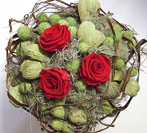 Blumenstrauß RED ROSES/ Rosenstrauß/ Blumendekoration/ Trockengesteck/ Trockenstrauß/Geburtstag/ Hochzeit/ Naturdeko/ Lifestyle Deko/ Muttertag