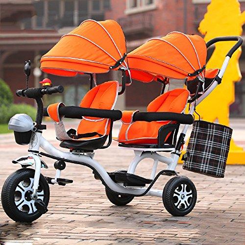 LZTET Twins Dreirad Kinderwagen Kinderwagen Faltbar und Multifunktional Hochwertigen Kinderwagen,Orange