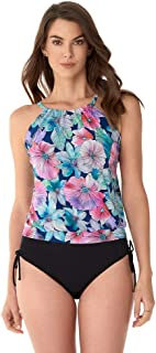Women's Swimwear Love My Tribe Flower Power High Neck Blouson Tankini Bathing Suit Top