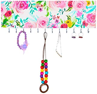 Basumee Jewelry Organizer Wall Mounted for Girls Necklace Holder Wooden with 12 Metal Hooks, Pink Floral