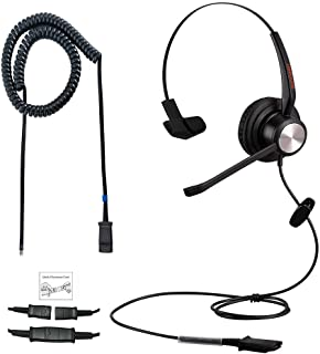Emaiker Phone Headset with Noise Canceling Mic RJ9 One Ear Telephone Headset with Mic Jack Adapter for Panasonic Snom Gran...