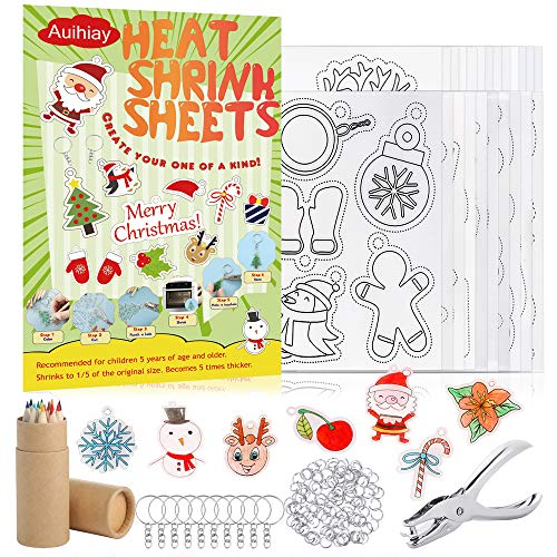 Auihiay 146 PCS Heat Shrink Plastic Sheet Kit Include 20 Shrinky Art Paper with Christmas or Daily Pattern & 3 Blank Shrink Film Paper, Hole Punch, Keychains, Pencils for Kids Craft School Project