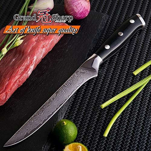 Best Quality Kitchen Knives Damascus Kitchen Knives Chef's Cooking Tools vg10 Japanese Damascus Steel Boning Knife PRO Butcher Knife Filleting Meat Fish NEW