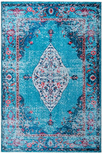Mylife Rugs Traditional Vintage Non Slip Machine Washable Distressed Printed Area Rug, Turquoise Red 4