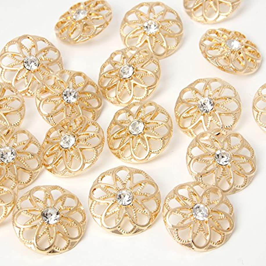 YAKA 24pcs Craft Buttons for Sewing Clothing, Gold Alloy Rhinestone Crystal Hollow Decorative Metal Cloth Buttons, 25mm, DIY Buttons Craft Supplies (Style4)