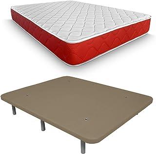 Duérmete Online Pack colchón visco elástico Lite Reversible y Base tapizada 3D, Extra-Reforzada, 5 Barras de Refuerzo y válvulas de ventilación con 7 Patas, 150 x 190 cm, Transpirable, Beige