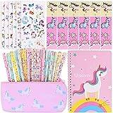 Yestias 40PCS Estuche Escolar y Cuadernos de Unicornio, Unicornio Cuaderno Bonitos Pegatina Regalo de Cumpleaños