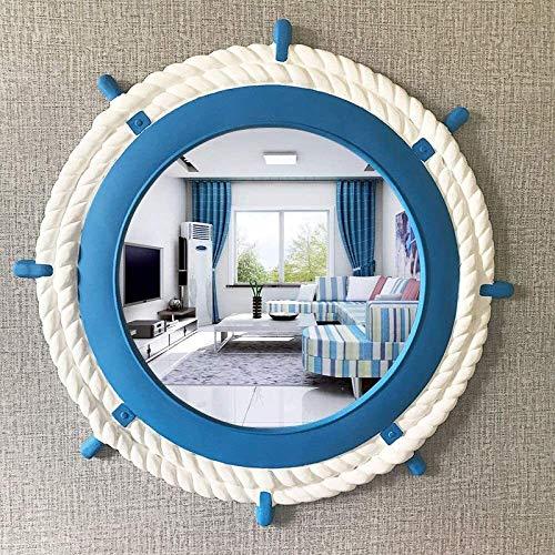 HFSYYM6 Espejos de Pared 25.2 Pulgadas de la Vendimia, Náutico y Puerto Agujero Pared del Espejo, Azul Blanco francés del país Espejo de baño, Playa Baño Espejo de Maquillaje (Color : B)