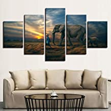 WLHRJ 5 Panel Wall Art Animal elephant Painting The Picture Print On Canvas For Home Decoration Gift Piece Stretched By Wooden Frame Ready To Hang 150cm(W) x 100cm(H)