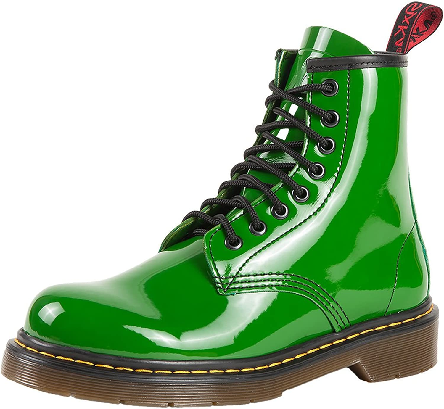 SK7 Women's Hot Stylish Coventry Gloss Leather Fashion Ankle Boots Frida Green - 8.5
