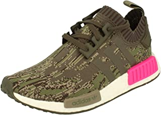 Originals NMD_R1 Pk Mens Running Trainers Sneakers Shoes Prime Knit (UK 5.5 US 6 EU 38 2/3, Utility Green Pink BZ0222)