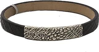 David Yurman 10mm Sterling Silver & Black Gator Leather Bracelet Large