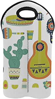 Fiesta 2 Bottle Wine Bag,Symbols from Mexico Guitar Face Aztec Mask Tequila Skull Musical Instruments Taco Decorative for Home,9.52