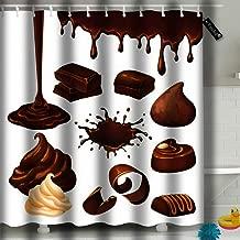 txregxy Shower Curtain Bath Curtain Cartoon Chocolate Elements Blot Drop Whipped Cream Shavings Candies Pieces Nut Decorative Modern Bathroom Accessories 6288 66