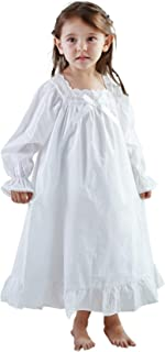 Nightgowns for Girls, Long Vintage Soft Cotton Sleepwear, Full Length Nightdress for Kids 3-12 Years