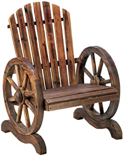 Decor and More Store Rustic Country Style Wagon Wheel Style Adirondack Chair Garden Patio Furniture