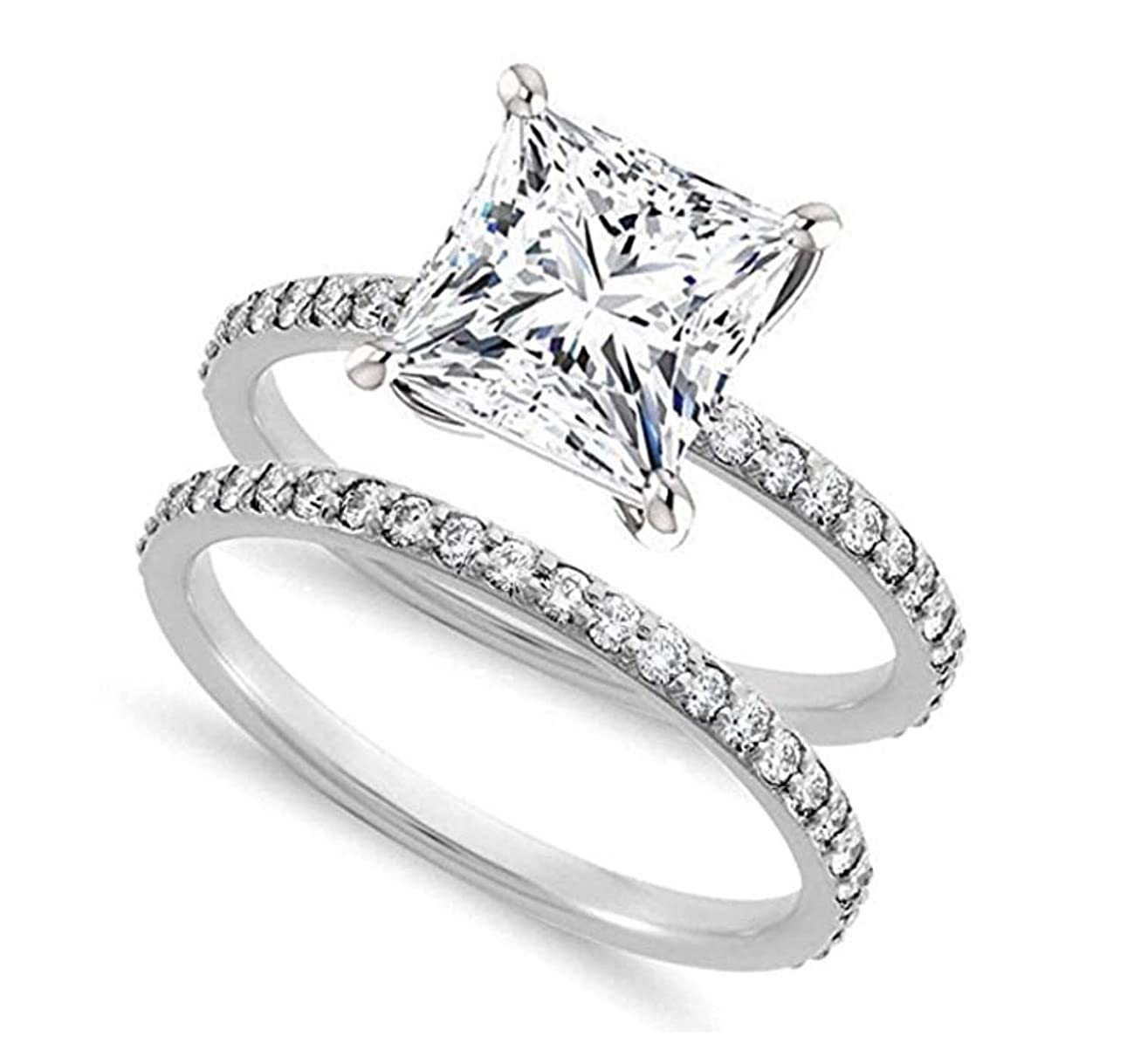 Venetia Realistic Supreme 1.5 Carat Princess Cut NSCD Simulated Diamond Ring Band Set 925 Silver Platinum Plate