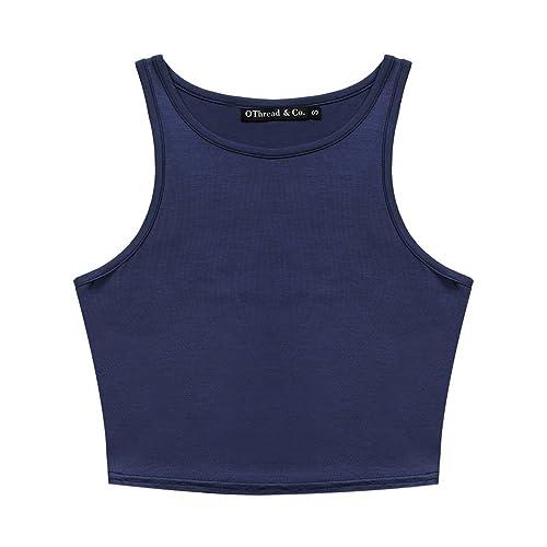 b3673c483271f Women s Basic Crop Tops Stretchy Casual Crew Neck Sleeveless Crop ...
